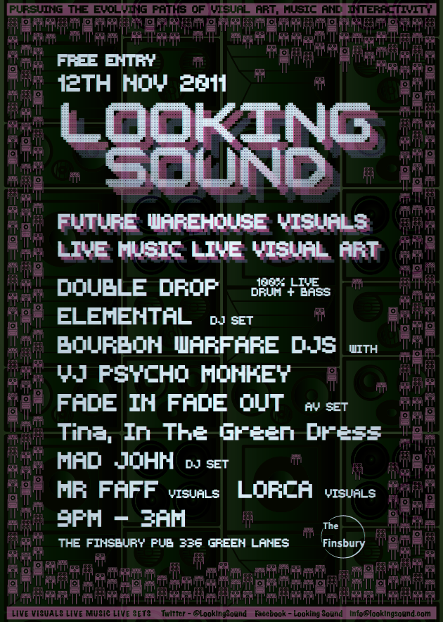NEXT LOOKING SOUND 12th November featuring Double Drop, Elemental, Bourbon Warfare DJs, Fade in Fade Out. Finsbury Pub near manor house tube