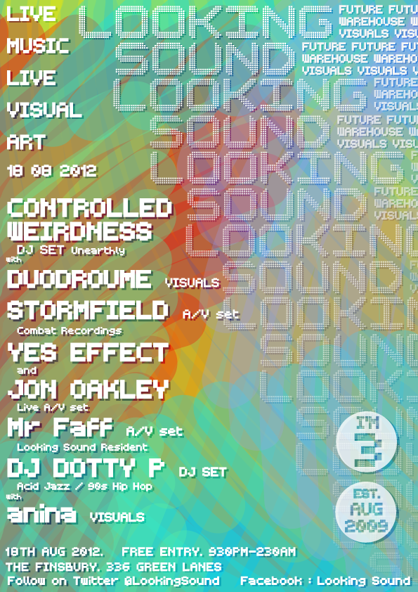 NEXT LOOKING SOUND 18th August featuring DJ Controlled Wierdness (Unearthly), STORMFIELD (Combat Recordings), YES EFFECT, Mr Faff, DJ Dotty P and Anina Visuals Finsbury Pub near manor house tube