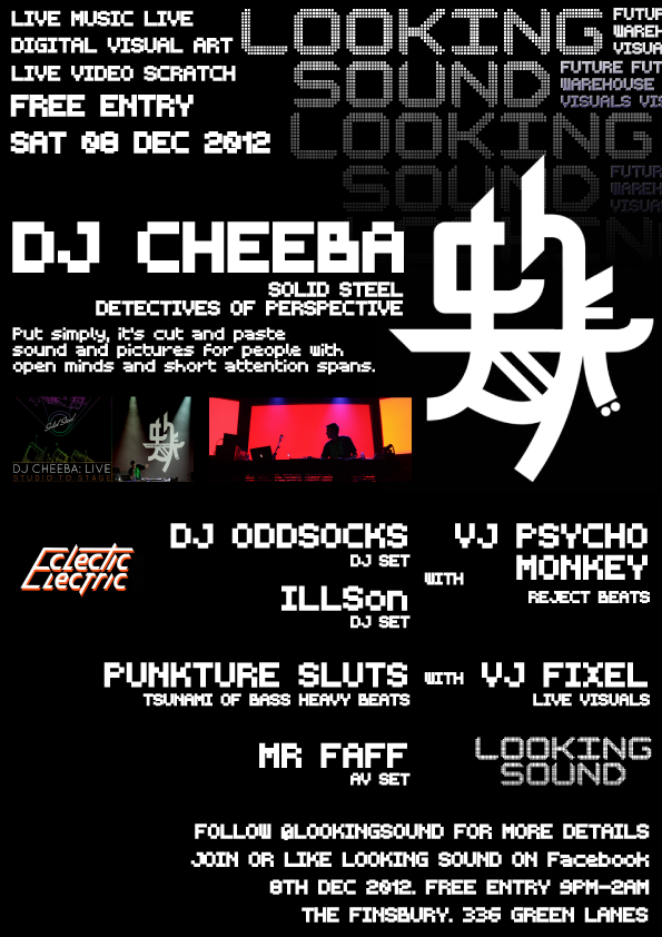 NEXT LOOKING SOUND 08th December featuring DJ CHEEBA and more, lineup to be announced follow @lookingsound for more info or find Looking Sound on Facebook. Finsbury Pub near manor house tube